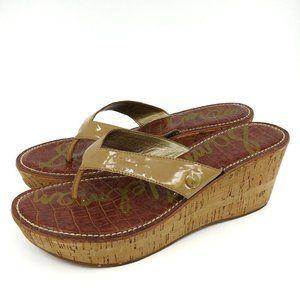 Sam Edelman Romy Nude Cork Platform Thong Sandals